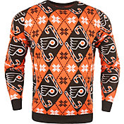KLEW Men's Philadelphia Flyers Candy Cane Ugly Sweater