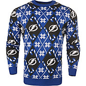 KLEW Men's Tampa Bay Lightning Candy Cane Ugly Sweater