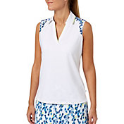 Lady Hagen Women's Watercolor Collection Sleeveless Print Golf Polo