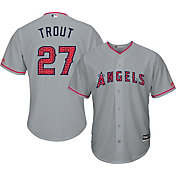 Majestic Men's Replica Los Angeles Angels Mike Trout #27 2017 4th Of July Cool Base Jersey
