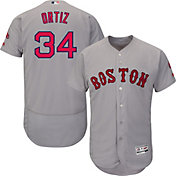 Majestic Men's Authentic Boston Red Sox David Ortiz #34 Flex Base Road Grey On-Field Jersey
