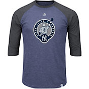 Majestic Men's New York Yankees Derek Jeter Jersey Retirement Navy/Grey Raglan Three-Quarter Sleeve Shirt