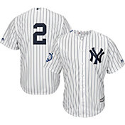 Majestic Men's Replica New York Yankees Derek Jeter #2 Cool Base Home White Jersey w/ Jersey Retirement Patch