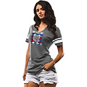 Majestic Women's Chicago Cubs Grey Americana Notch Neck T-Shirt