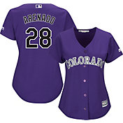Majestic Women's Replica Colorado Rockies Nolan Arenado #28 Cool Base Alternate Purple Jersey