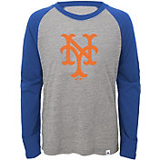 Majestic Youth New York Mets Cooperstown Grey/Royal Raglan Three-Quarter Sleeve Shirt