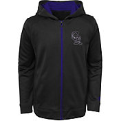Majestic Youth Colorado Rockies Club Series Black Full-Zip Hooded Fleece
