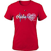 Majestic Youth Girls' Cincinnati Reds Heart Beat Red T-Shirt