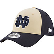 New Era Men's Notre Dame Fighting Irish Gold/Navy The League Blocked 9FORTY Adjustable Hat