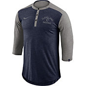 Nike Men's Cleveland Indians Dri-FIT Three-Quarter Sleeve Henley Shirt