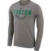 Nike Men's Boston Celtics Dri-FIT Grey Practice Long Sleeve Shirt