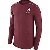 Nike Men's Alabama Crimson Tide Heathered Crimson Player Football Sideline Long Sleeve Shirt
