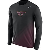 Nike Men's Virginia Tech Hokies Black/Maroon Football Sideline Dri-FIT Long Sleeve Shirt