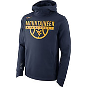 Nike Men's West Virginia Mountaineers Blue Basketball Performance Elite Therma-FIT Hoodie