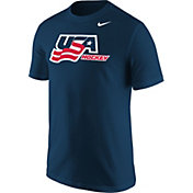 Nike Men's USA Hockey World Junior Classic Wordmark Navy T-Shirt