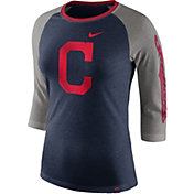 Nike Women's Cleveland Indians Raglan Tri-Blend Three-Quarter Sleeve Shirt