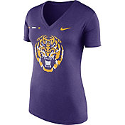 Nike Women's LSU Tigers Purple Stripe Bar V-Neck T-Shirt
