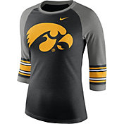 Nike Women's Iowa Hawkeyes Black/Grey Stripe Sleeve Three-Quarter Raglan Shirt