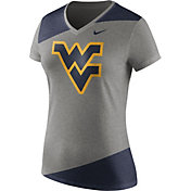Nike Women's West Virginia Mountaineers Grey/Blue Champ Drive Football Dri-Blend V-Neck T-Shirt
