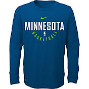 Nike Youth Minnesota Timberwolves Dri-FIT Blue Practice Long Sleeve Shirt