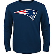NFL Team Apparel Youth New England Patriots Logo Navy Long Sleeve Shirt