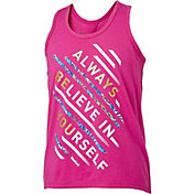 Reebok Girls' Cotton Keyhole Back Always Be You Graphic Tank Top