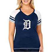Soft As A Grape Women's Detroit Tigers Tri-Blend V-Neck T-Shirt