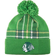 adidas Men's 2018 St. Patrick's Day Chicago Blackhawks Green Pom Knit Beanie