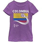 Fifth Sun Youth Girls' 2018 FIFA World Cup Colombia Flag Ball Purple T-Shirt
