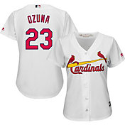 Majestic Women's Replica St. Louis Cardinals Marcell Ozuna #23 Cool Base Home White Jersey