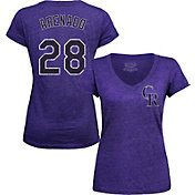 Majestic Threads Women's Colorado Rockies Nolan Arenado Purple V-Neck T-Shirt