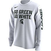 Nike Men's Michigan State Spartans 'Go Green Go White' Bench Legend Long Sleeve White T-Shirt